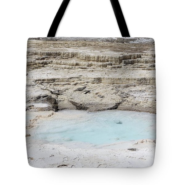 Mammoth Hot Springs Upper Terraces In Yellowstone National Park Tote Bag by Louise Heusinkveld