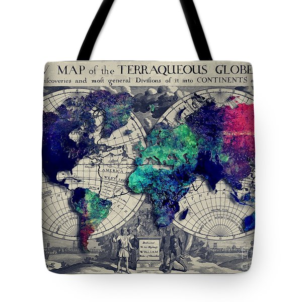 Map Of The World  Tote Bag by Justyna JBJart