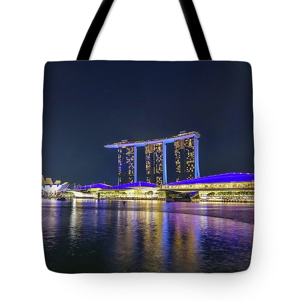 Marina Bay Sands And The Artscience Museum In Singapore Tote Bag