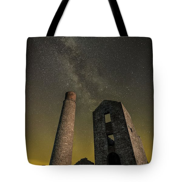 Milky Way Over Old Mine Buildings. Tote Bag