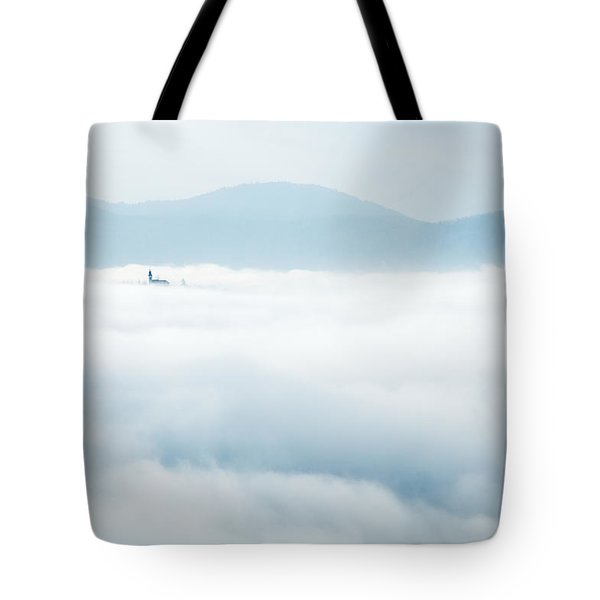 Tote Bag featuring the photograph Mist Over Church Of Maria by Ian Middleton