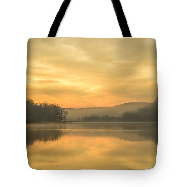 Misty Morning On The Lake Tote Bag