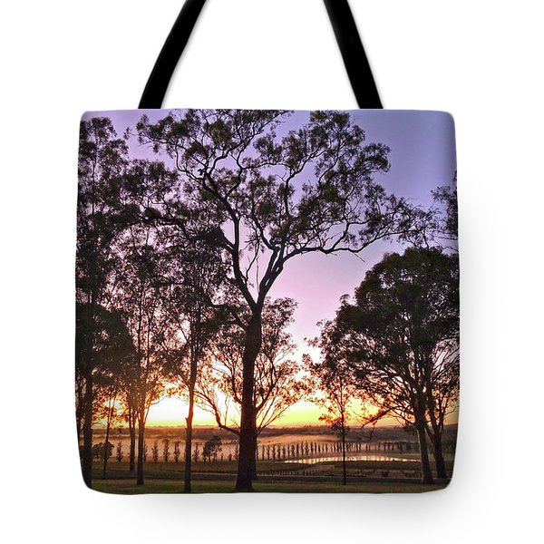 Misty Rural Scene With Dam And Trees Tote Bag
