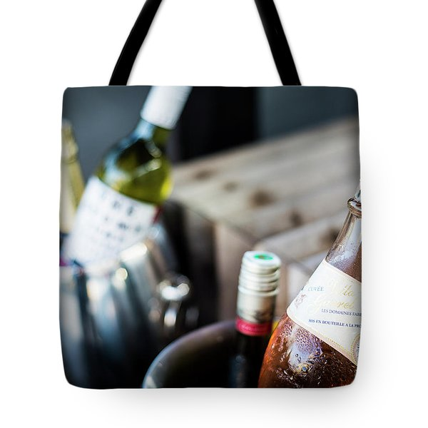 Mixed Bottles Of Gourmet Wine In Ice Chiller Bucket Tote Bag