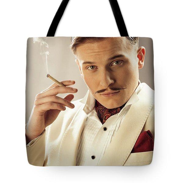 Model Playing Errol Flynn Character Tote Bag