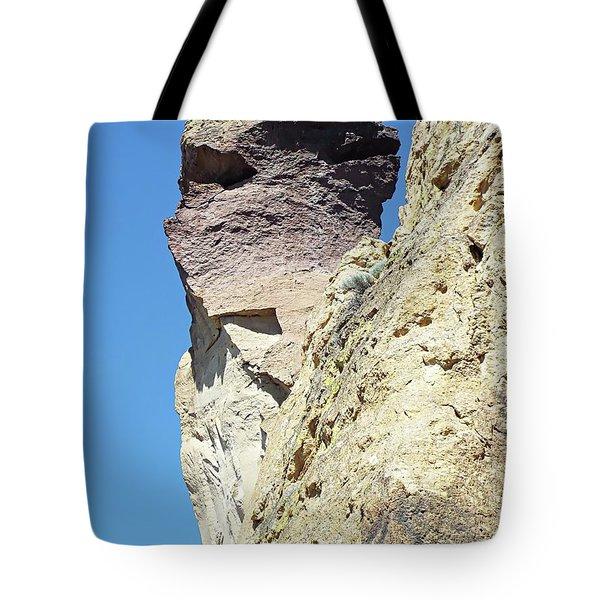 Tote Bag featuring the digital art Monkey Face Rock - Smith Rock National Park by Joseph Hendrix