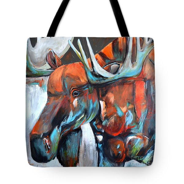 Tote Bag featuring the painting Moose by Cher Devereaux