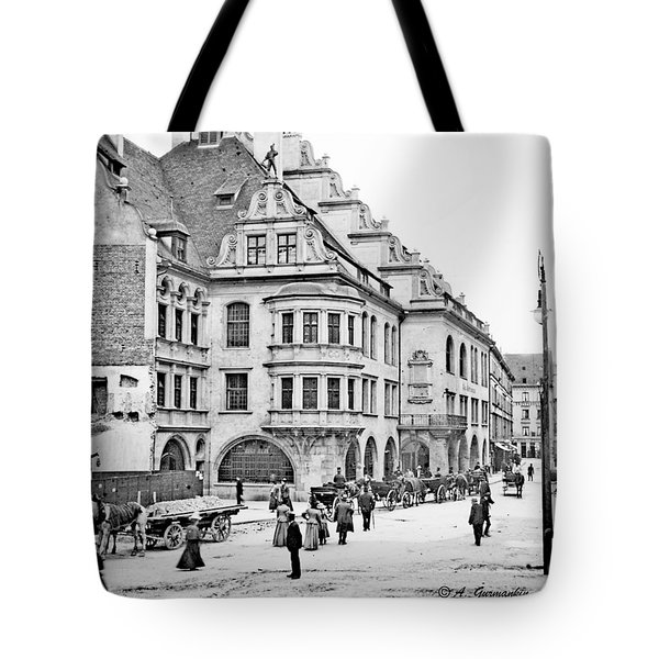 Tote Bag featuring the photograph Munich Germany Street Scene 1903 Vintage Photograph by A Gurmankin