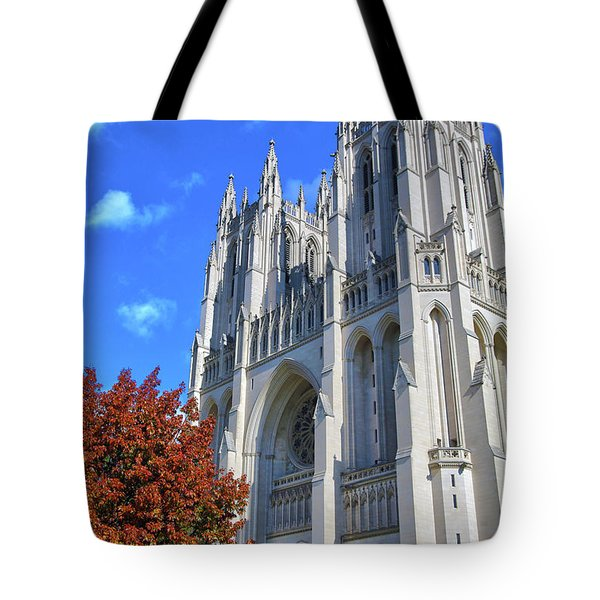 Tote Bag featuring the photograph National Cathedral by Mitch Cat
