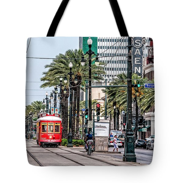 New Orleans Canal Street Streetcars Tote Bag by Andy Crawford