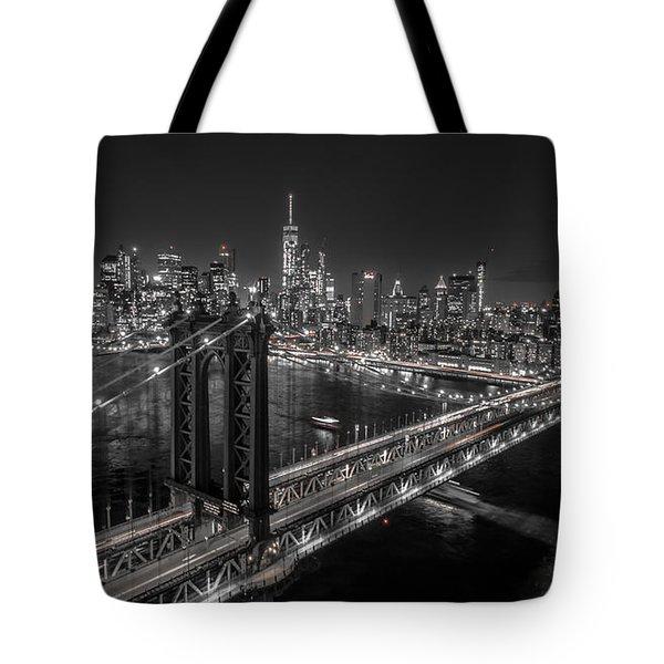 New York City, Manhattan Bridge At Night Tote Bag
