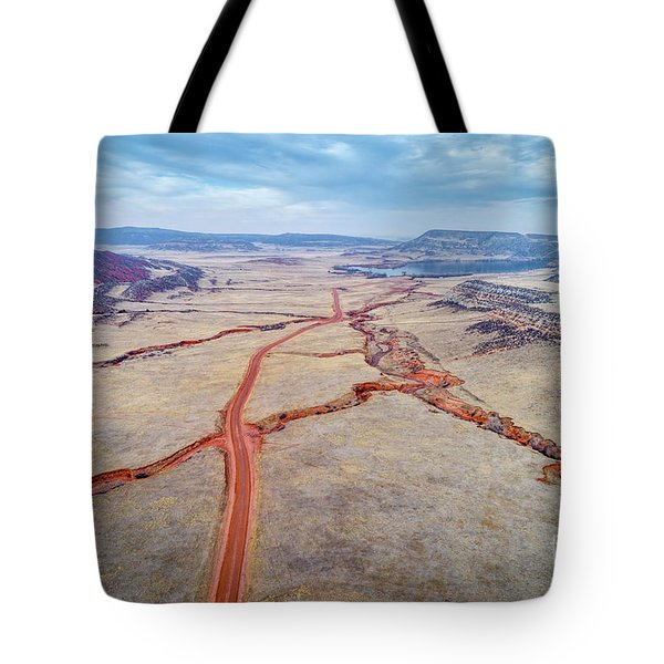 northern Colorado foothills aerial view Tote Bag