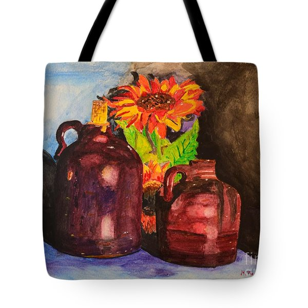 Tote Bag featuring the painting 2 Old Jugs 1.. by Melvin Turner