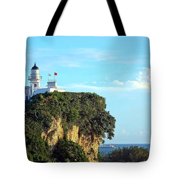 Tote Bag featuring the photograph Old Lighthouse Overlooking Kaohsiung Harbor by Yali Shi