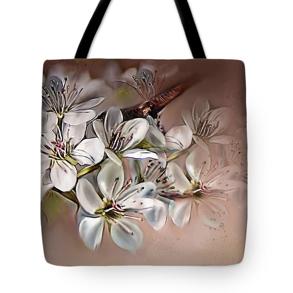 Tote Bag featuring the painting Oriental Pear Blossom by Bonnie Willis