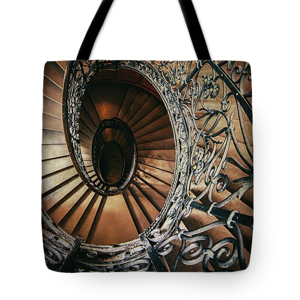 Tote Bag featuring the photograph Ornamented Spiral Staircase by Jaroslaw Blaminsky