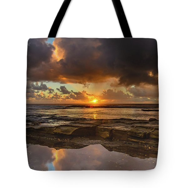 Overcast And Cloudy Sunrise Seascape Tote Bag