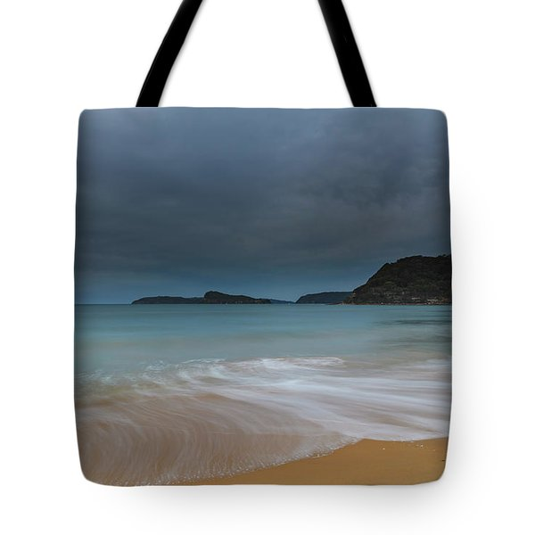 Overcast Cloudy Sunrise Seascape Tote Bag