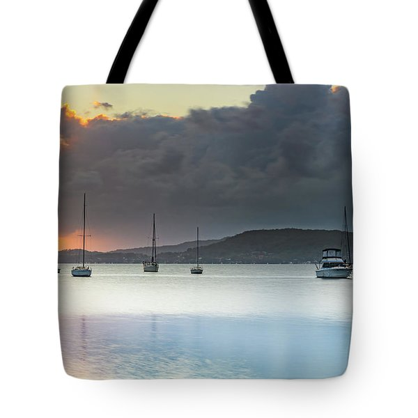 Overcast Sunrise Waterscape Tote Bag