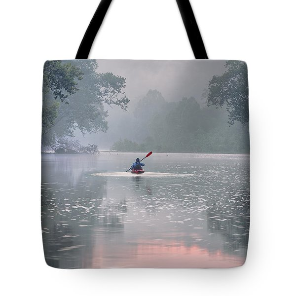 Paddling In Mist Tote Bag by Robert Charity