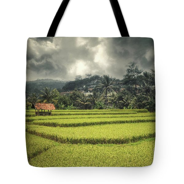Tote Bag featuring the photograph Paddy Field by Charuhas Images