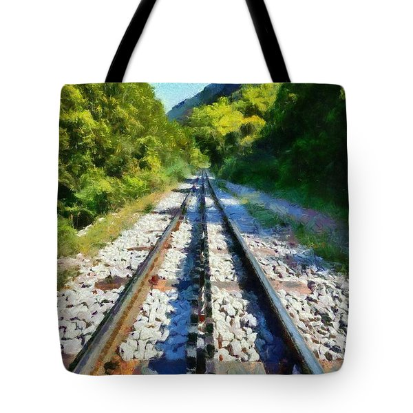 Painting Of The Rack Railway In Vouraikos Gorge Tote Bag