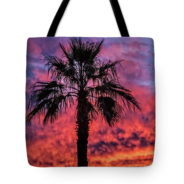 Tote Bag featuring the photograph Palm Tree Silhouette by Robert Bales