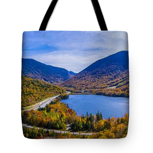 Panoramic View Of Franconia Notch. Tote Bag