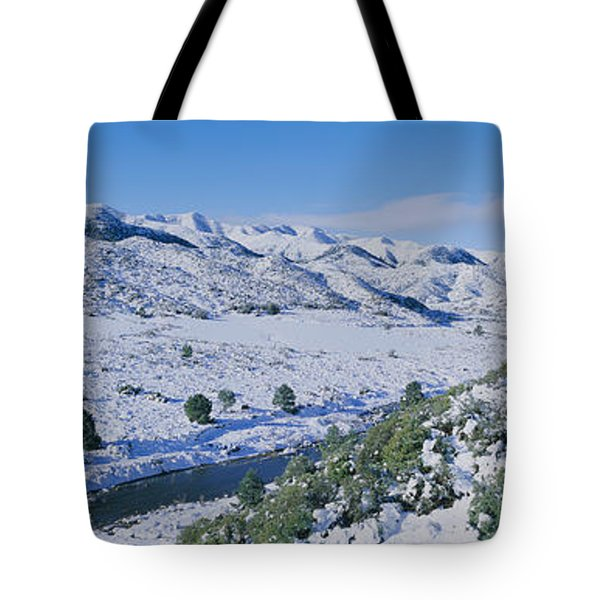 Panoramic View Of Winter Snow Tote Bag