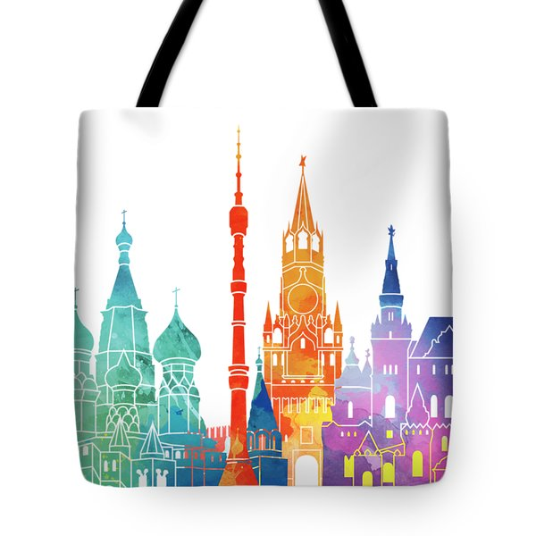 Paris Landmarks Watercolor Poster Tote Bag