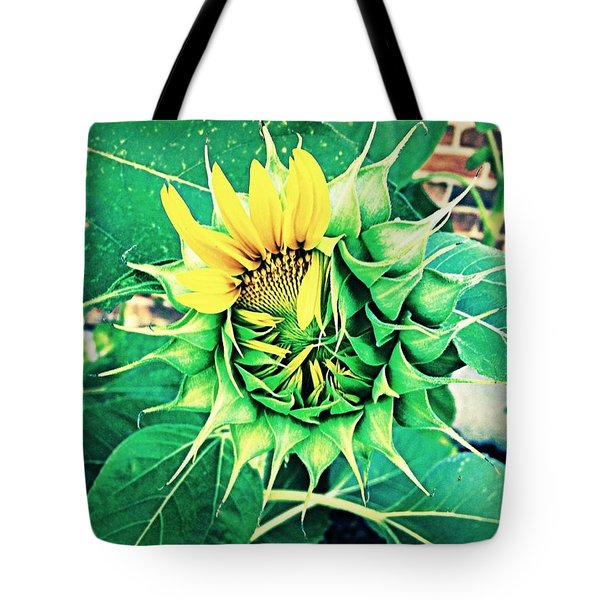 Peeping Sunflower Tote Bag