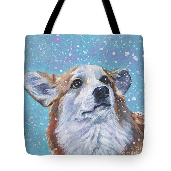 Tote Bag featuring the painting Pembroke Welsh Corgi by Lee Ann Shepard