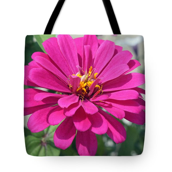 Tote Bag featuring the photograph Pink Zinnia by Ellen Tully