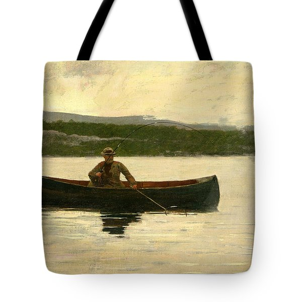 Tote Bag featuring the painting Playing A Fish by Winslow Homer