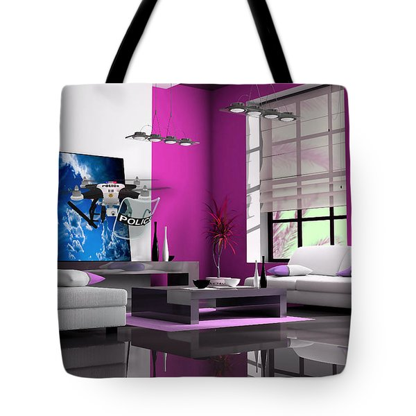 Police Drone Art Tote Bag by Marvin Blaine