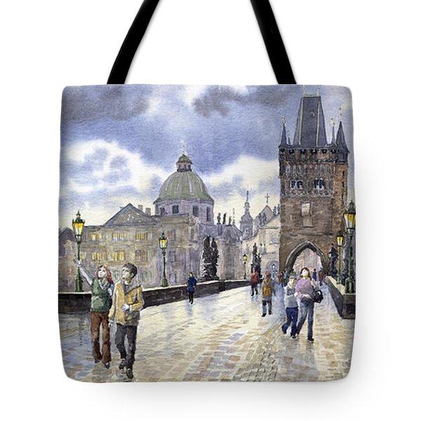 Prague Charles Bridge Tote Bag by Yuriy  Shevchuk