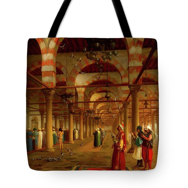 Tote Bag featuring the painting Prayer In The Mosque by Jean-Leon Gerome