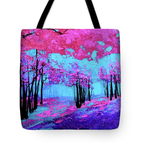 Tote Bag featuring the painting Purple Magenta, Forest, Modern Impressionist, Palette Knife Painting by Patricia Awapara