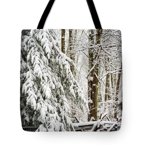 Tote Bag featuring the photograph Rail Fence And Snow by Thomas R Fletcher