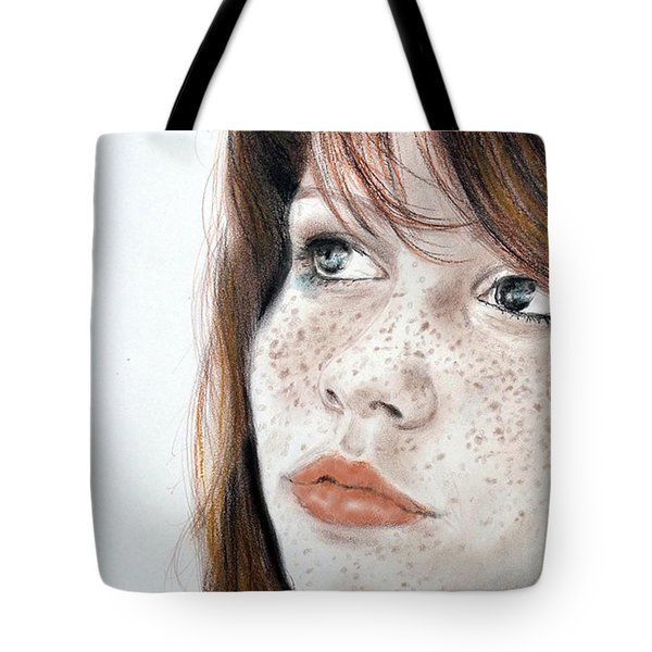 Red Hair And Freckled Beauty Tote Bag