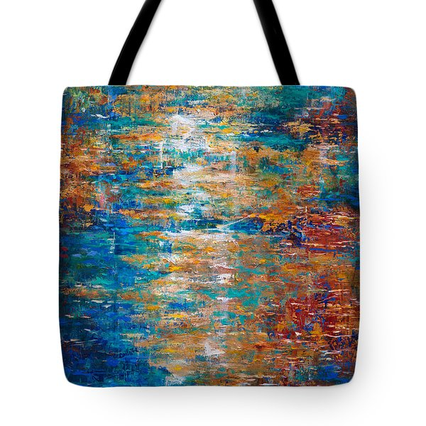Tote Bag featuring the painting Reflections Dancing On Water by Linda Olsen