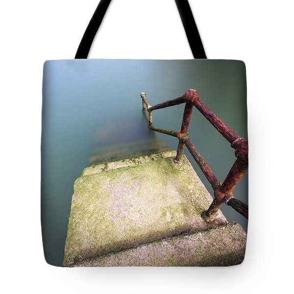 Rusty Handrail Going Down On Water Tote Bag