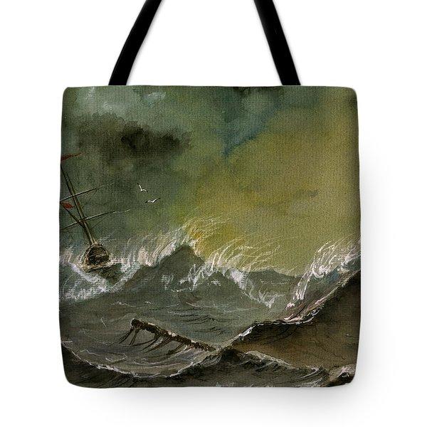 Sail Ship Watercolor Tote Bag