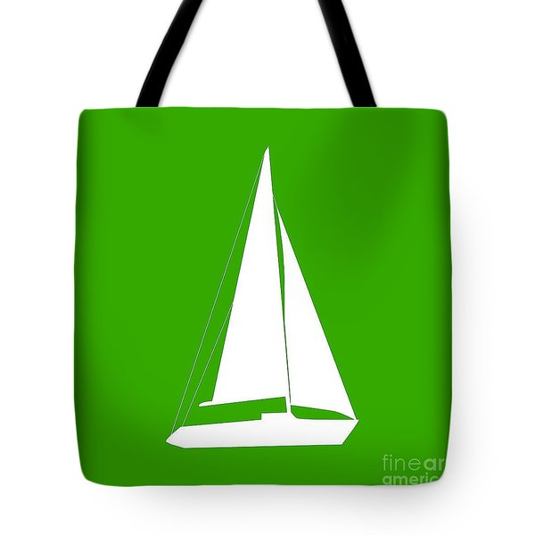 Sailboat In Green And White Tote Bag