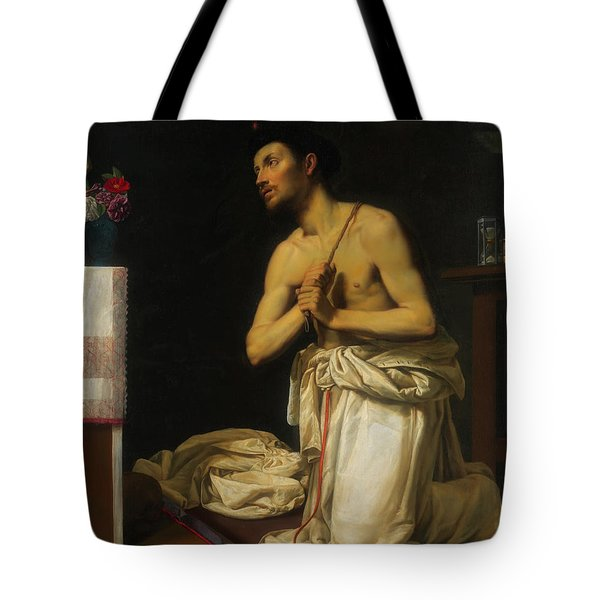 Tote Bag featuring the painting Saint Dominic In Penitence by Filippo Tarchiani