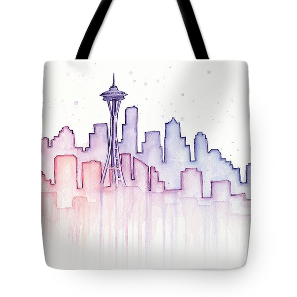 Seattle Skyline Watercolor Tote Bag by Olga Shvartsur