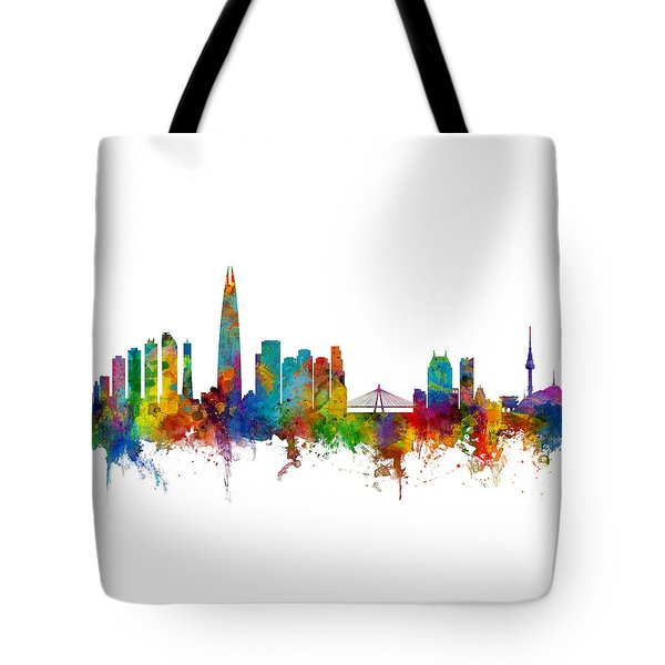 Tote Bag featuring the photograph Seoul Skyline South Korea by Michael Tompsett