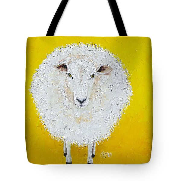 Sheep Painting On Yellow Background Tote Bag