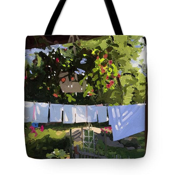 Sheets And Pillow Cases On The Line With Lantana Flowers Tote Bag