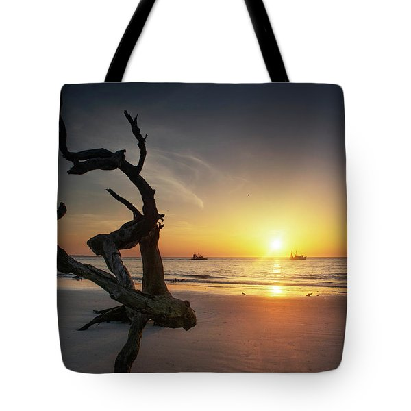 Shrimp Boats And Driftwood Tote Bag